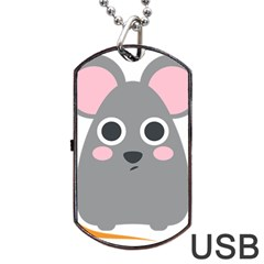Mouse Grey Face Dog Tag USB Flash (Two Sides)