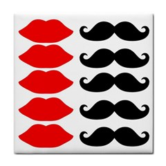 Mustache Black Red Lips Tile Coasters