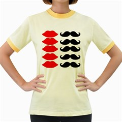 Mustache Black Red Lips Women s Fitted Ringer T Shirts