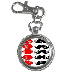 Mustache Black Red Lips Key Chain Watches