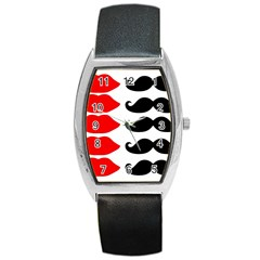 Mustache Black Red Lips Barrel Style Metal Watch
