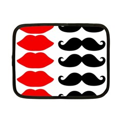 Mustache Black Red Lips Netbook Case (small)