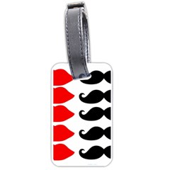 Mustache Black Red Lips Luggage Tags (one Side)