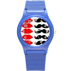 Mustache Black Red Lips Round Plastic Sport Watch (s)