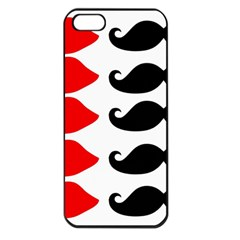 Mustache Black Red Lips Apple Iphone 5 Seamless Case (black)