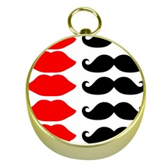 Mustache Black Red Lips Gold Compasses