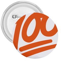 Number 100 Orange 3  Buttons