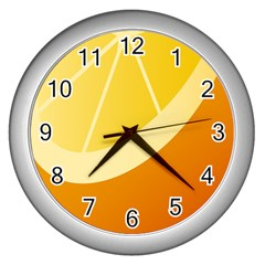 Orange Lime Yellow Fruit Fress Wall Clocks (silver)