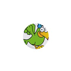 Parrot Cartoon Character Flying 1  Mini Buttons