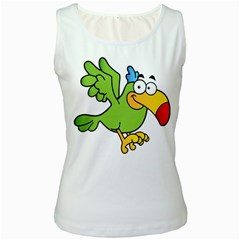 Parrot Cartoon Character Flying Women s White Tank Top