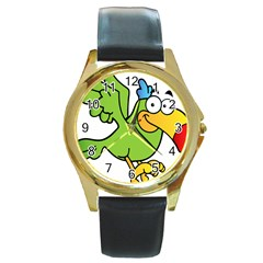 Parrot Cartoon Character Flying Round Gold Metal Watch