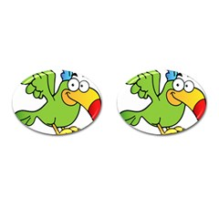 Parrot Cartoon Character Flying Cufflinks (oval)