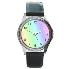 Multi Color Pastel Background Round Metal Watch
