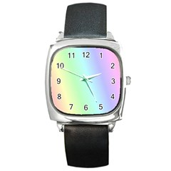 Multi Color Pastel Background Square Metal Watch