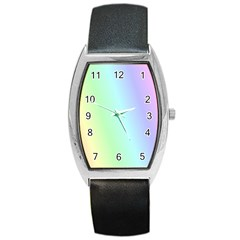 Multi Color Pastel Background Barrel Style Metal Watch