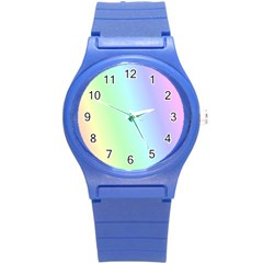 Multi Color Pastel Background Round Plastic Sport Watch (S)