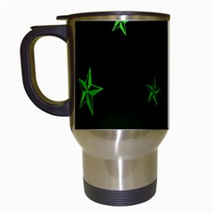 Nautical Star Green Space Light Travel Mugs (white)