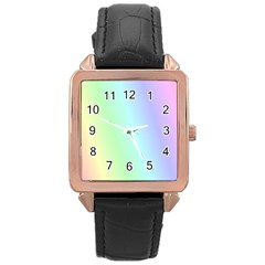Multi Color Pastel Background Rose Gold Leather Watch