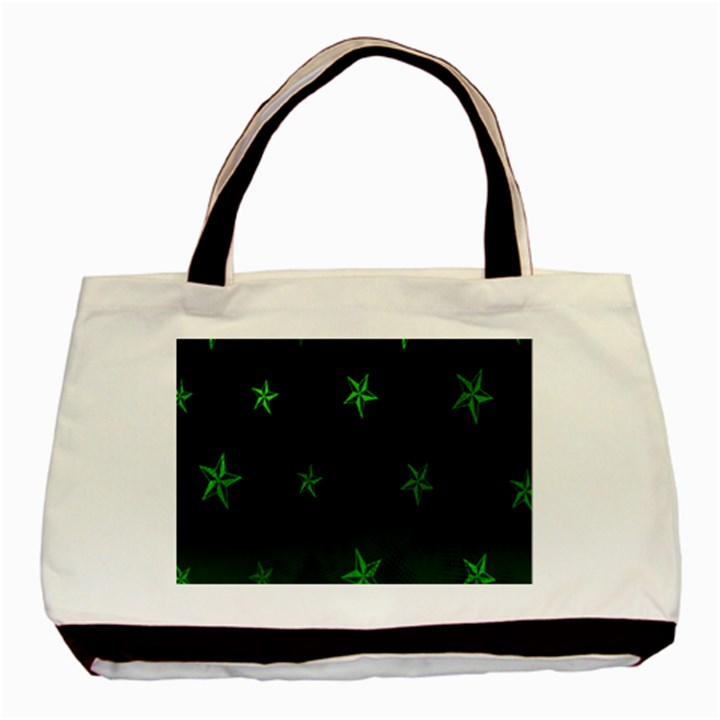 Nautical Star Green Space Light Basic Tote Bag (Two Sides)