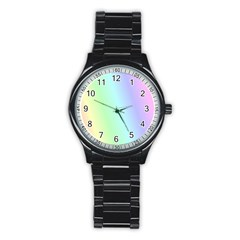 Multi Color Pastel Background Stainless Steel Round Watch