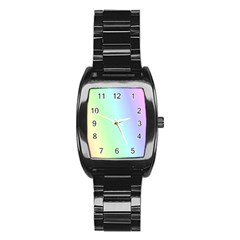 Multi Color Pastel Background Stainless Steel Barrel Watch