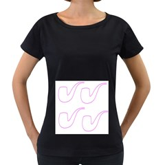 Pipe Template Cigarette Holder Pink Women s Loose-Fit T-Shirt (Black)