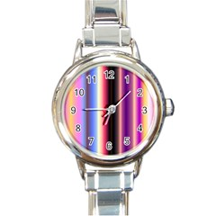 Multi Color Vertical Background Round Italian Charm Watch
