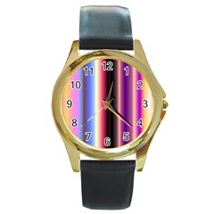 Multi Color Vertical Background Round Gold Metal Watch