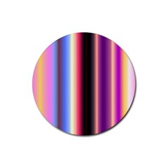 Multi Color Vertical Background Rubber Round Coaster (4 Pack)