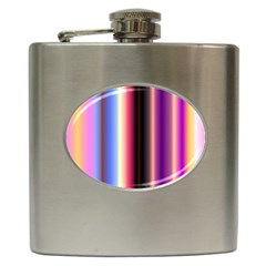 Multi Color Vertical Background Hip Flask (6 Oz)