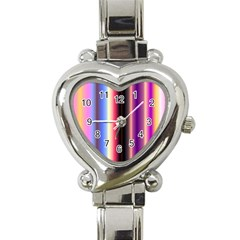 Multi Color Vertical Background Heart Italian Charm Watch