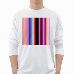 Multi Color Vertical Background White Long Sleeve T-Shirts