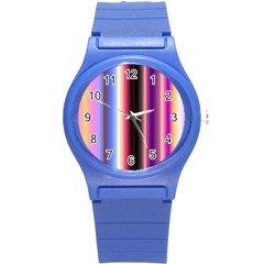 Multi Color Vertical Background Round Plastic Sport Watch (S)