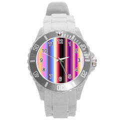 Multi Color Vertical Background Round Plastic Sport Watch (L)