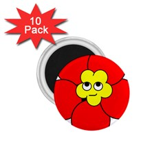 Poppy Smirk Face Flower Red Yellow 1 75  Magnets (10 Pack)
