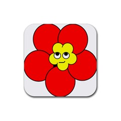 Poppy Smirk Face Flower Red Yellow Rubber Square Coaster (4 Pack)