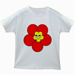 Poppy Smirk Face Flower Red Yellow Kids White T Shirts
