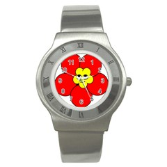Poppy Smirk Face Flower Red Yellow Stainless Steel Watch