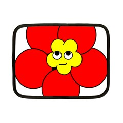 Poppy Smirk Face Flower Red Yellow Netbook Case (small)