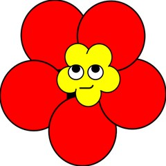 Poppy Smirk Face Flower Red Yellow Magic Photo Cubes