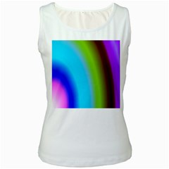 Multi Color Stones Wall Multi Radiant Women s White Tank Top
