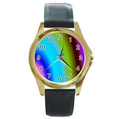 Multi Color Stones Wall Multi Radiant Round Gold Metal Watch