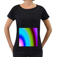 Multi Color Stones Wall Multi Radiant Women s Loose-Fit T-Shirt (Black)