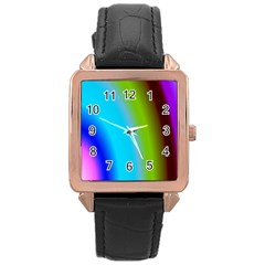 Multi Color Stones Wall Multi Radiant Rose Gold Leather Watch