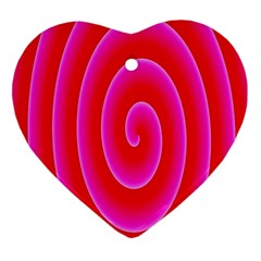 Pink Hypnotic Background Ornament (Heart)