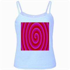 Pink Hypnotic Background Baby Blue Spaghetti Tank