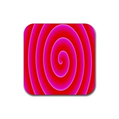 Pink Hypnotic Background Rubber Square Coaster (4 pack)