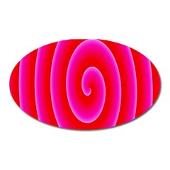 Pink Hypnotic Background Oval Magnet