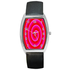 Pink Hypnotic Background Barrel Style Metal Watch