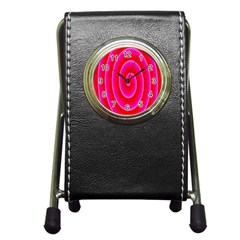 Pink Hypnotic Background Pen Holder Desk Clocks